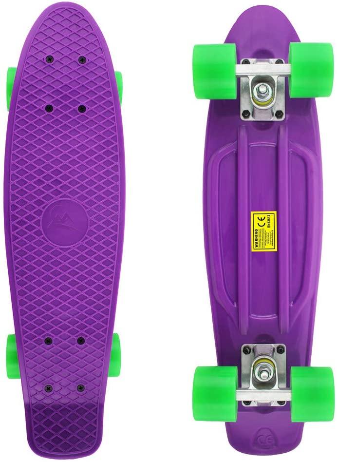 Meketec Skateboards Complete 22 Inch Mini Cruiser Retro Skateboard for Kids Bo