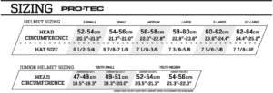 Protec Helmet size chart