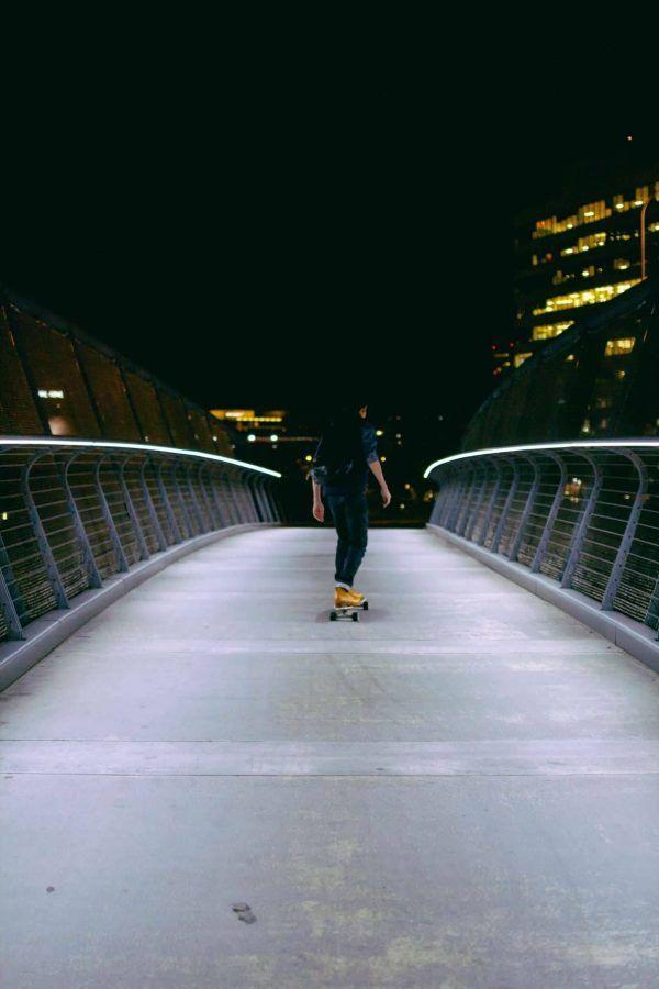 longboard and bridge