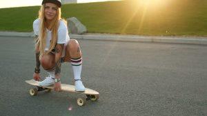 girl and longboard